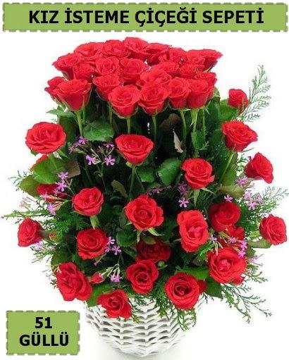 51 ADET KIRMIZI GÜLDEN KIZ İSTEME SEPETİ  Ankara çiçek gönderme