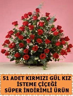 51 Adet kırmızı gülden kız isteme çiçeği  Ankara hediye sevgilime hediye çiçek