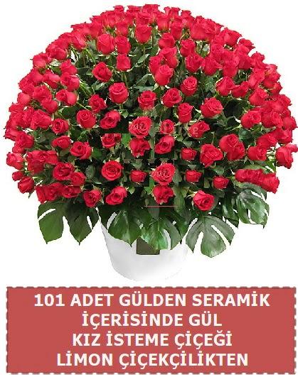 Seramik vazoda 101 gül kız isteme çiçeği  Ankara çiçekçi telefonları