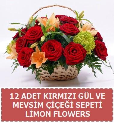 12 gül ve mevsim çiçekleri sepeti  Ankara hediye çiçek yolla