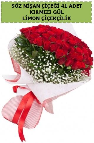 41 adet kırmızı gül söz nişan kız isteme çiçeği