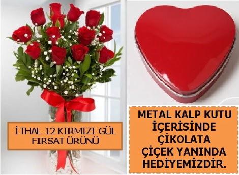 12 adet kırmızı gül ve kalp kutuda çikolata  Ankaraya çiçek yolla