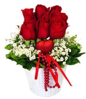 9 kırmızı gül seramik ve kalp çubuk  Ankara çiçekçi telefonları