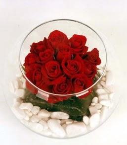 Cam fanusta 11 adet kırmızı gül  Ankara çiçekçi telefonları