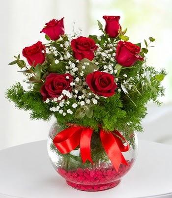 fanus Vazoda 7 Gül  Ankara ucuz çiçek gönder