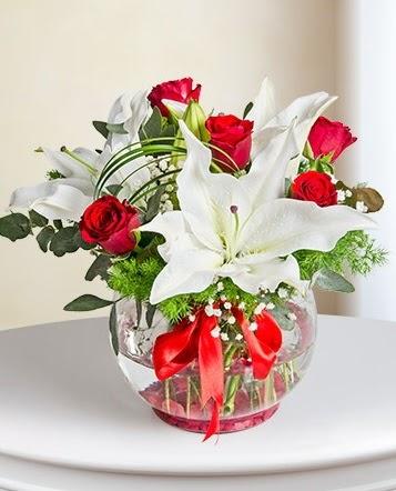Fanus Vazoda 2 Lilyum ve 5 Gül Dansı  Ankara çiçekçi telefonları