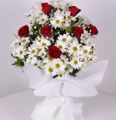 7 adet kırmızı gül ve papatyalar krizantem  Ankara hediye sevgilime hediye çiçek