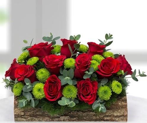 Silindir kütükte 11 kırmızı gül ve krizantem  Ankara hediye sevgilime hediye çiçek