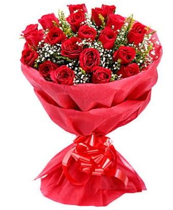 21 adet kırmızı gülden modern buket  Ankara çiçekçi telefonları