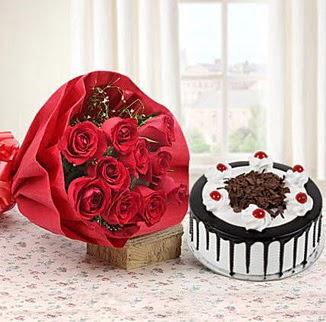 12 adet kırmızı gül 4 kişilik yaş pasta  Ankara ucuz çiçek gönder