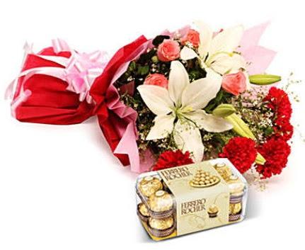 Karışık buket ve kutu çikolata  Ankara ucuz çiçek gönder