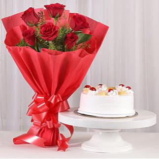 6 Kırmızı gül ve 4 kişilik yaş pasta  Ankara ucuz çiçek gönder