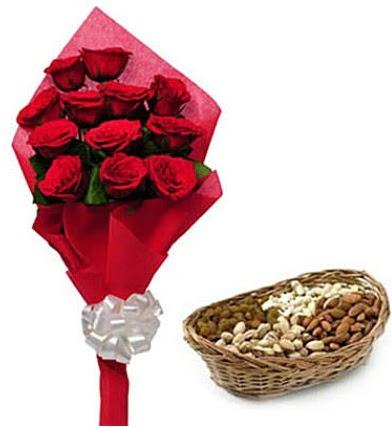 11 adet kırmızı gül ve sepette kuruyemiş  Ankara hediye sevgilime hediye çiçek