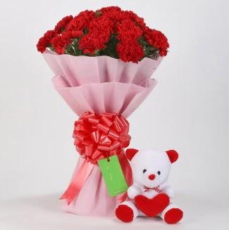 19 kırmızı karanfil buketi 15 cm ayıcık  Ankara çiçek mağazası , çiçekçi adresleri
