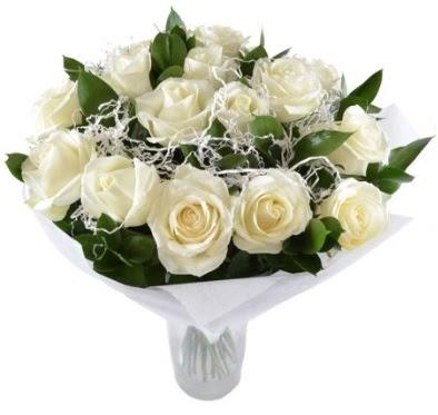 15 beyaz gül buketi sade aşk  Ankara çiçek , çiçekçi , çiçekçilik