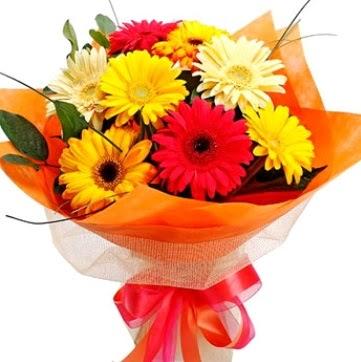 9 adet karışık gerbera buketi  Ankara ucuz çiçek gönder