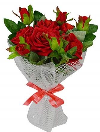 9 adet kırmızı gülden sade şık buket  Ankaraya çiçek yolla