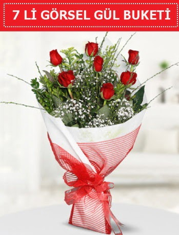 7 adet kırmızı gül buketi Aşk budur  Ankara çiçek , çiçekçi , çiçekçilik