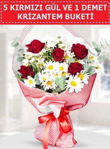5 adet kırmızı gül ve krizantem buketi  Ankara çiçek , çiçekçi , çiçekçilik