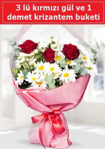 3 adet kırmızı gül ve krizantem buketi  Ankara İnternetten çiçek siparişi