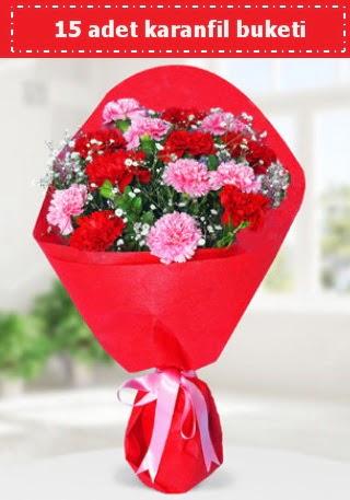 15 adet karanfilden hazırlanmış buket  Ankara yurtiçi ve yurtdışı çiçek siparişi