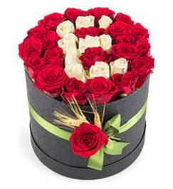 41 adet kırmızı beyaz gül harfli  Ankara çiçek gönderme