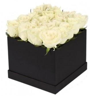 Kare kutuda 19 adet beyaz gül aranjmanı  Ankaraya çiçek yolla