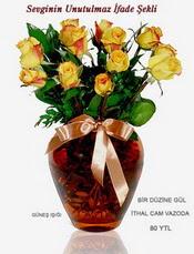 Ankara hediye sevgilime hediye çiçek  mika yada Cam vazoda 12 adet sari gül